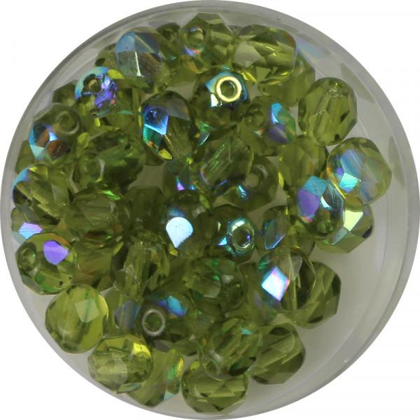 Glasschliffperlen, feuerpoliert, 6 mm, bedampft oliv AB