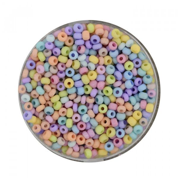 Rocailles-Softperle, opak deckend, 2,6 mm, 17gr.Dose, mix