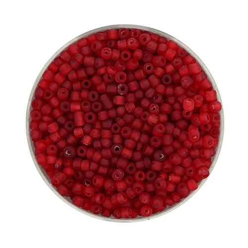 Rocailles aus China, 17gr. Dose, 2,6mm,rot farbeinzug matt