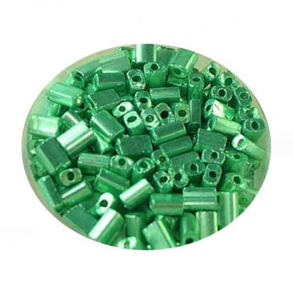 Glasrechteck, metallic, 5x3,5 mm, 17gr. Dose, grün