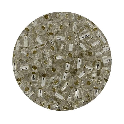 Rocailles aus China, 17gr. Dose, 4mm,kristall silbereinzug