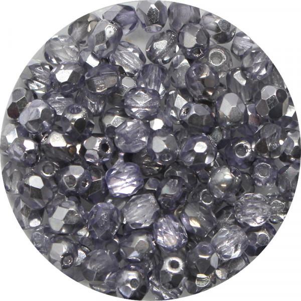 Glasschliffperlen, feuerpoliert, 4 mm, halb bedampft tanzanite