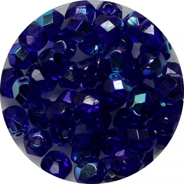 Glasschliffperlen, feuerpoliert, 6 mm, h. bedampft, safir AB