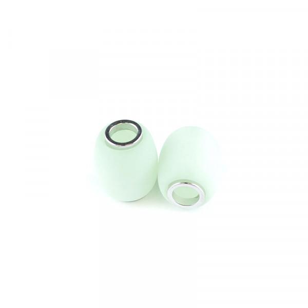 Polaris Großlochperlen matt, 15x12mm, chrysolite-grün