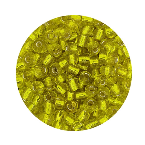 Rocailles aus China, 17gr. Dose, 4mm,gelb silbereinzug