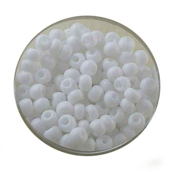 Rocailles, satt opak glänzend, 4,5mm, 17gr. Dose, weiß