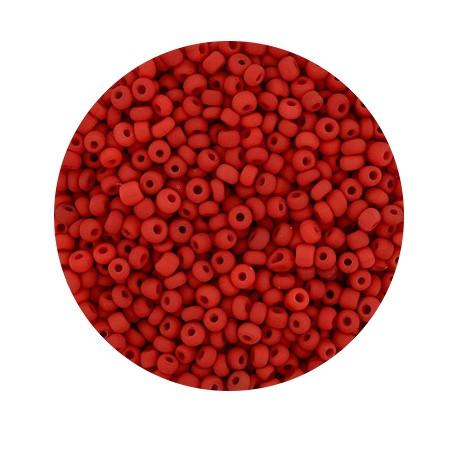 Rocailles aus China, 17gr. Dose, 2,6mm, rot matt