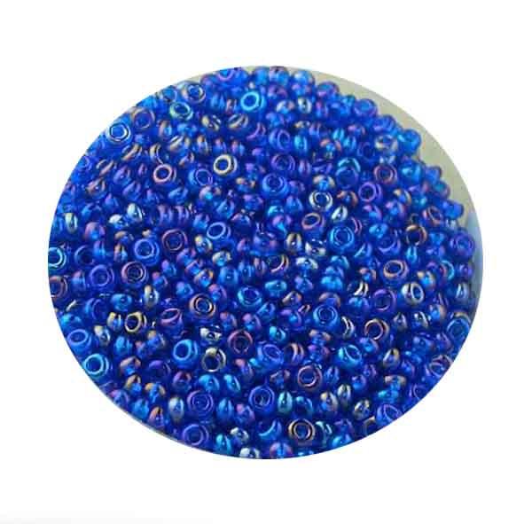 Rocailles, Rainbow AB-Effekt, 2,6mm, 17gr. Dose, dkl.blau