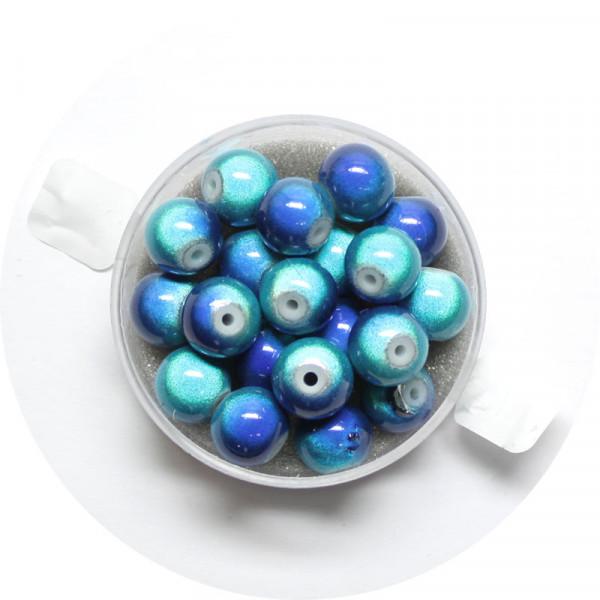 Miracle-Beads Glasperlen, 20 Stck., 8mm, blau-weiß