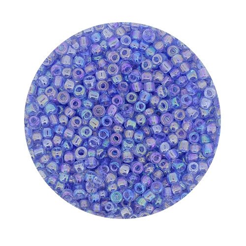 Rocailles aus China, 17gr. Dose, 2,6mm,transp. aqua AB