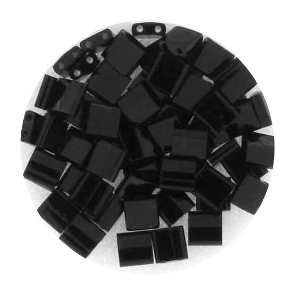 Tila-Beads, 2-loch Viereck, 6gr. Dose, black glazed