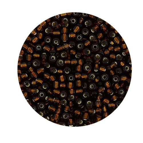 Rocailles aus China, 17gr. Dose, 2,6mm,dunkelbraun silbereinzug