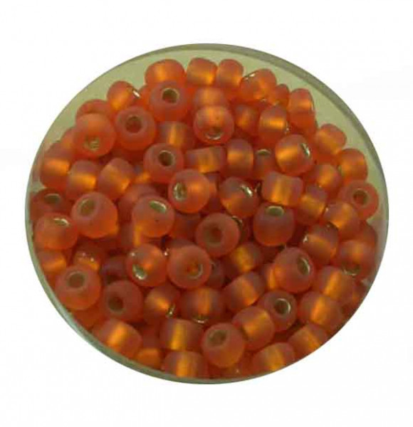 Rocailles, silbereinzug matt, 4,5mm, 17gr. Dose, orange