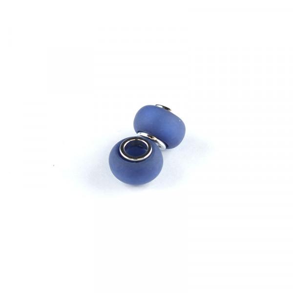 Polaris Großlochperlen matt, 8x12mm, dkl. blau