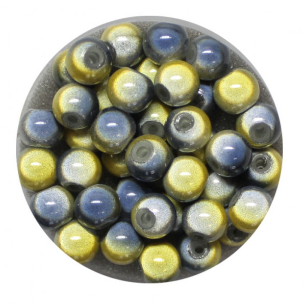 Miracle-Beads Glasperlen, 40 Stck., 6mm, gelb-grau