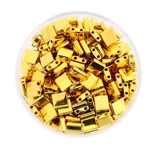 Tila-Beads, 2-loch Viereck, 4gr. Dose,echt vergoldet
