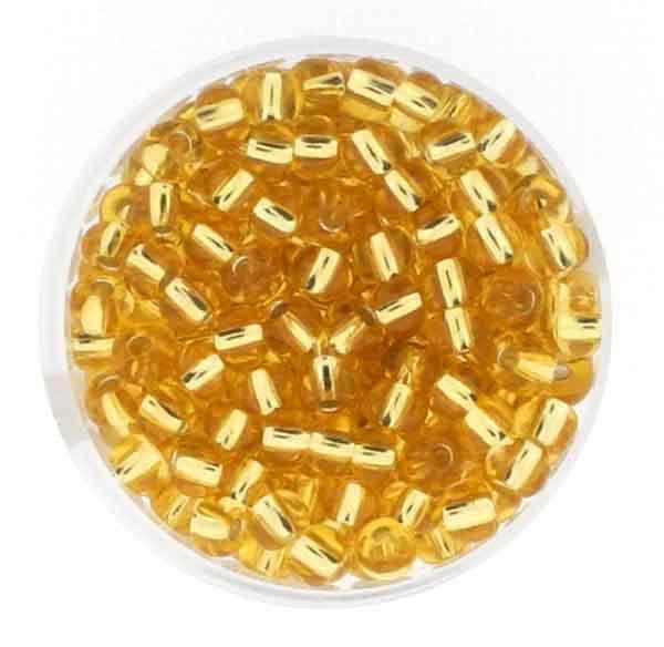 Rocailles, Goldeinzug, 4,5 mm, 17gr. Dose, kristall