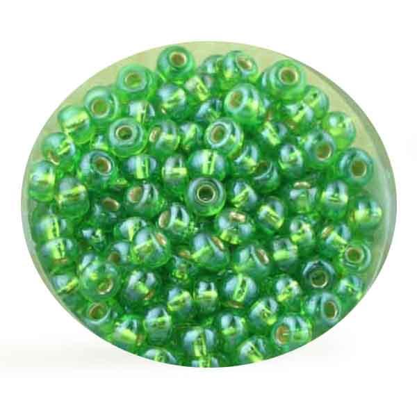 Rocailles, Rainbow AB-Effekt, 4,5mm, 17gr. Dose, grün