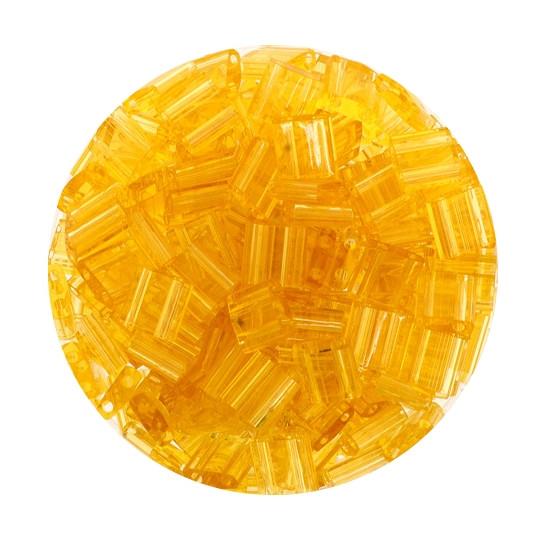 Tila-Beads, 2-loch Viereck, 6gr. Dose, transparent light topaz