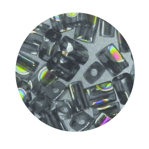 Glasperle, Rechteck, 5 mm, 7gr. Dose, grau
