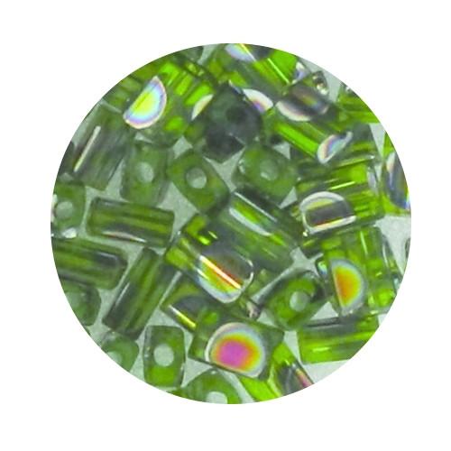 Glasperle, Rechteck, 5 mm, 7gr. Dose, grün