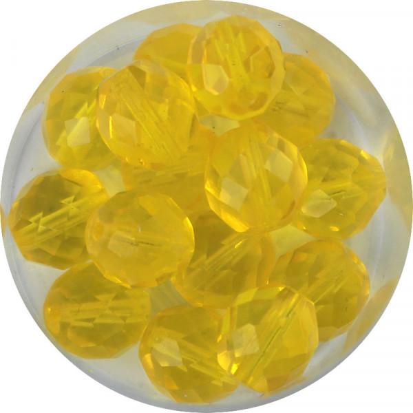Glasschliffperlen, feuerpoliert, 10 mm, transp. gelb