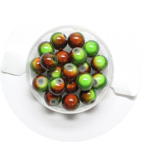 Miracle-Beads Glasperlen, 20 Stck., 8mm, grün-braun