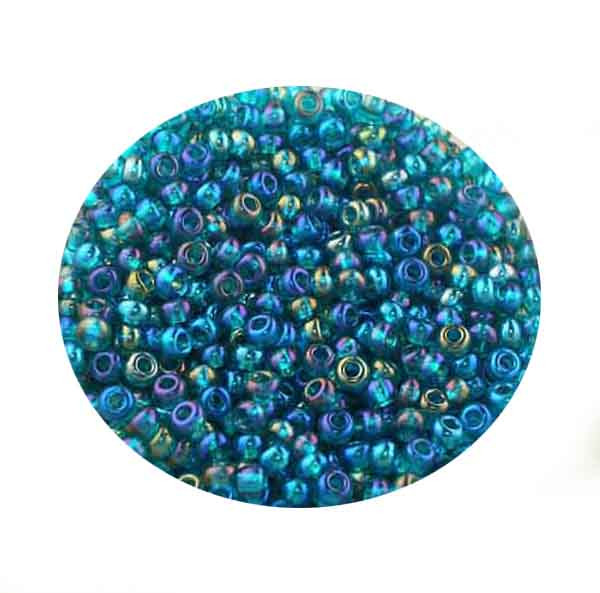 Rocailles, Rainbow AB-Effekt, 2,6mm, 17gr. Dose, peridot
