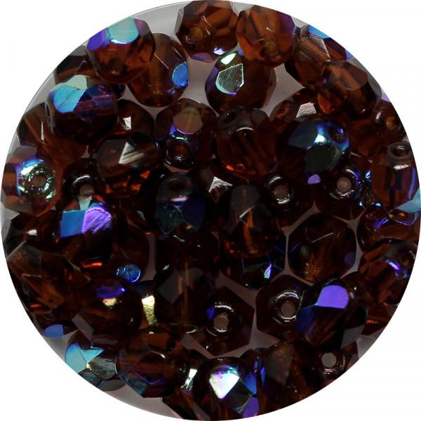 Glasschliffperlen, feuerpoliert, 6 mm, h. bedampft, dunkeltopas