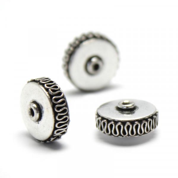 Metallperlen, Spacer, Rad, 6 x 12 mm, silberfarben