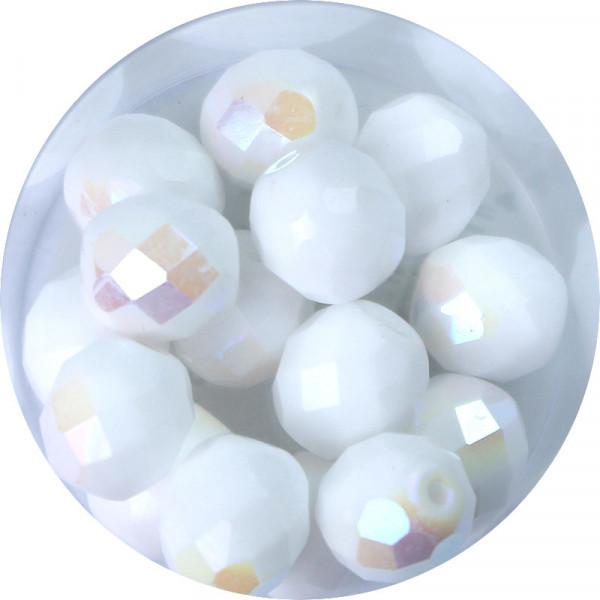 Glasschliffperlen Feuerpoliert, 10 mm, bedampft weiß satt AB