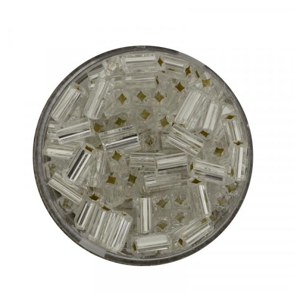 Glas-Viereck, 7mm, 15gr.Ds., silbereinzug, kristall