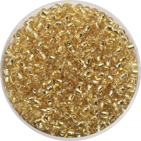 Rocailles, Goldeinzug, 2,6 mm, 17gr. Dose, kristall