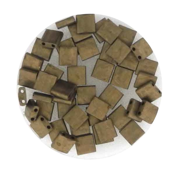 Tila-Beads, 2-loch Viereck, 4gr. Dose,gold metallic matt