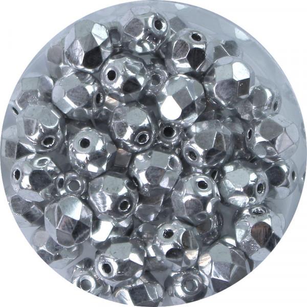 Glasschliffperlen, feuerpoliert, 6 mm, h. bedampft, silber