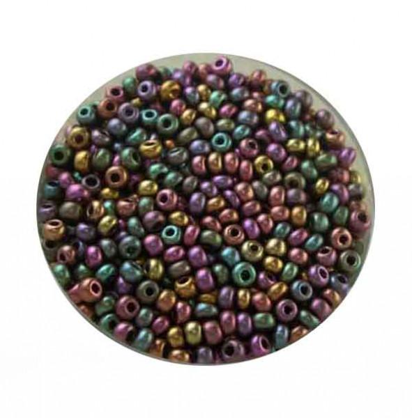 Rocailles, metallic-matt, 2,6mm, 17gr. Dose, Mix IV