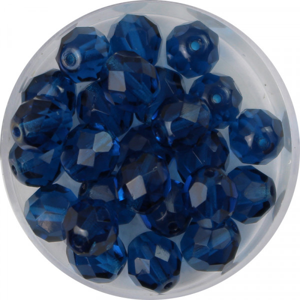 Glasschliffperlen, feuerpoliert, 8 mm, transp. capriblau