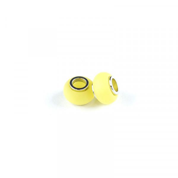 Polaris Großlochperlen matt, 8x12mm, gelb