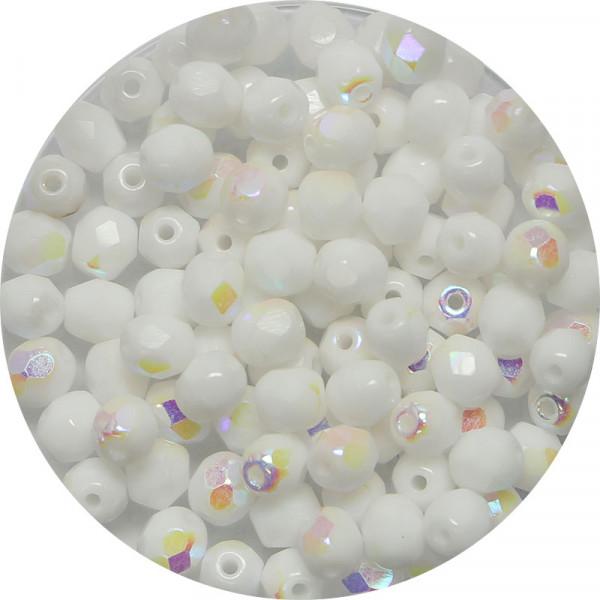 Glasschliffperlen, feuerpoliert, 4 mm, bedampft sattweiß AB