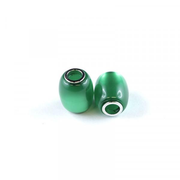 Polaris Großlochperlen, 15x12mm, dkl. grün