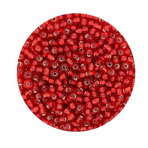 Rocailles aus China, 17gr. Dose, 2,6mm,rot silbereinzug