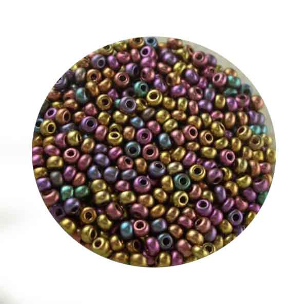 Rocailles, metallic-matt, 2,6mm, 17gr. Dose, Mix III
