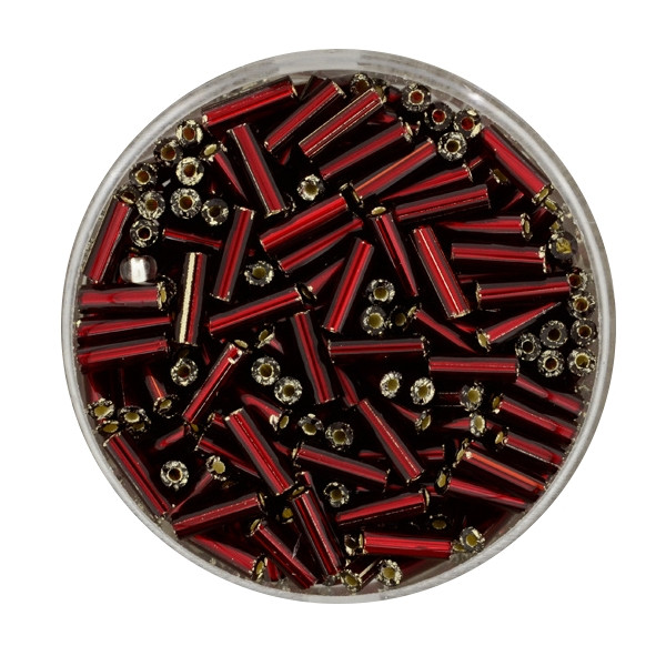 Glasstift, Silbereinzug, 6 mm, 17gr. Dose, dunkelrot