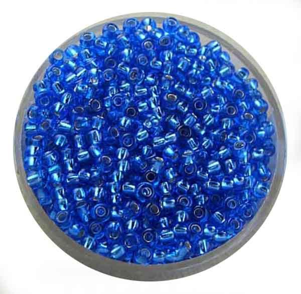 Rocailles, silbereinzug, 2,6mm, 17gr. Dose, safirblau