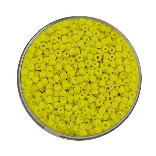 Rocailles aus China, 17gr. Dose, 2,6mm, gelb matt