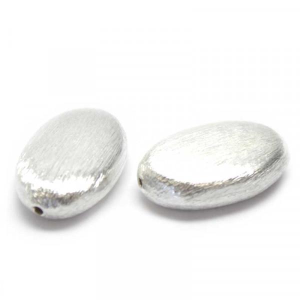 Wisilva Perlen, Oval, versilbert, gebürstet, 21x13 mm, 2 Stück