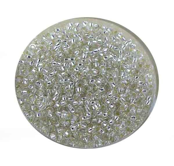Rocailles, Silbereinzug, 2,3 mm, 17gr. Dose, kristall