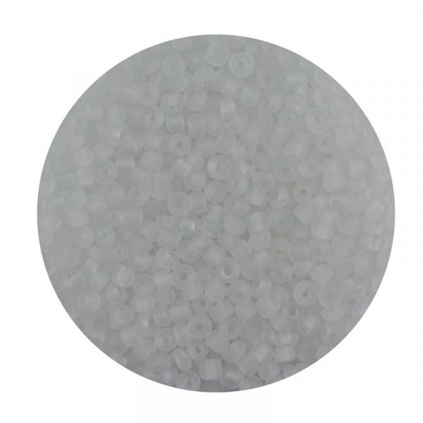 Rocailles aus China, 17gr. Dose, 2,6mm,transp. weiß matt
