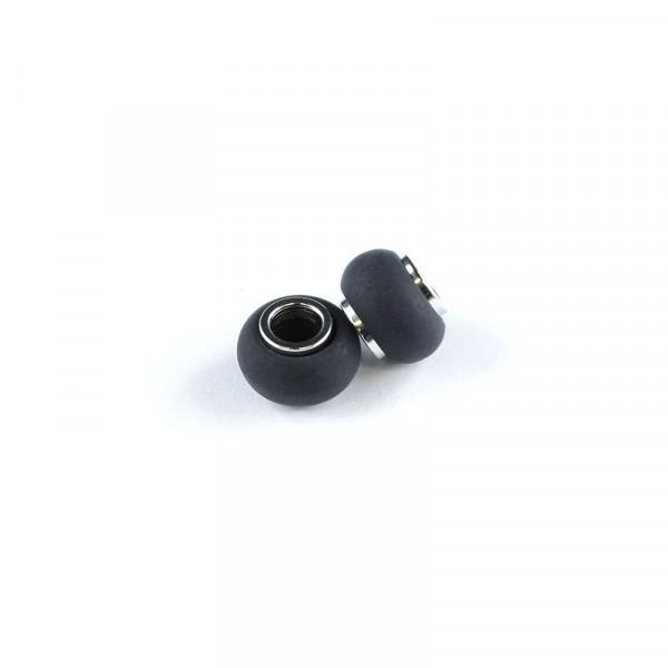Polaris Großlochperlen matt, 8x12mm, schwarz