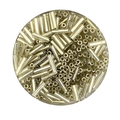 Glasstifte aus China, 17gr. Dose, 6mm, silbereinzug